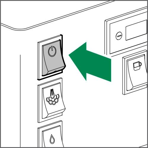Pour éteindre la machine, mettre l'interrupteur principal en position OFF